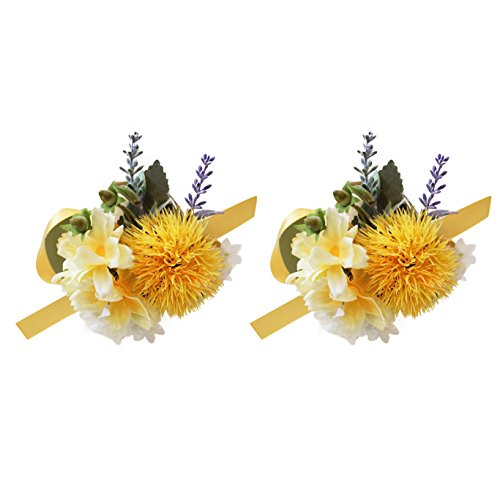 USIX 2pc Pack-Handmade Artificial Flower Yellow Series Wrist Corsage With Elastic Wristband for Girl Bridesmaid Wedding Party Prom Flower Corsage Hand Flower (#6 Wrist Corsage x2) ()