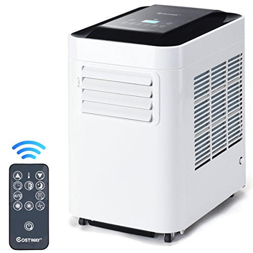 COSTWAY 10000 BTU Portable Air Conditioner Unit with Dehumidifier & Fan for Rooms up to 200 Sq. Ft. with Remote Control, LCD Display, and Casters