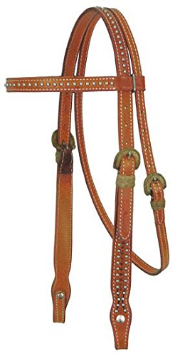 Tahoe Tack USA MesquiteレザーBrowバンドフルHorse Headstall with Rawhide & Spots、ロンドンタン   B002MUUWL8