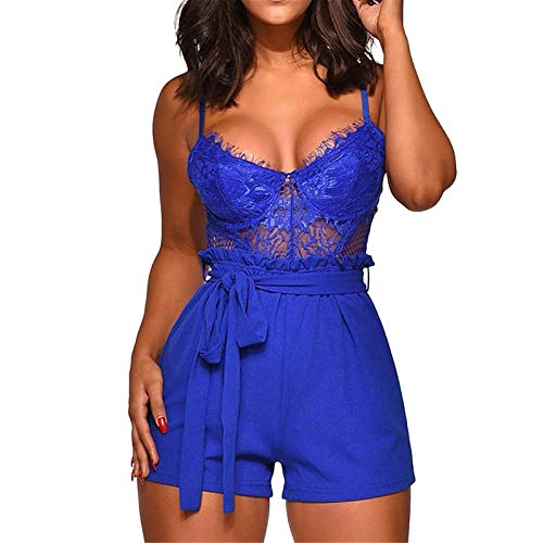Thenxin Womens Jumpsuit Lingerie Lace Fishnet Cami Top Elastic Waist Belt Short Romper Playsuit(Blue,XXL)
