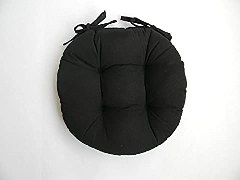 Indoor / Outdoor Round Tufted Bistro Cushion with Ties - Solid Black Fabric - Choose Size (16