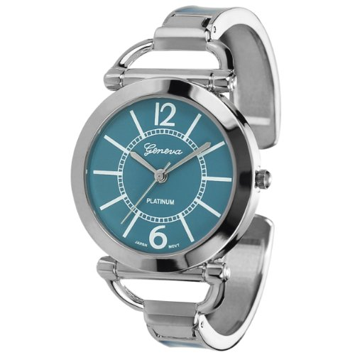 Geneva Platinum Women's Color Block Cuff Watch Color: Teal