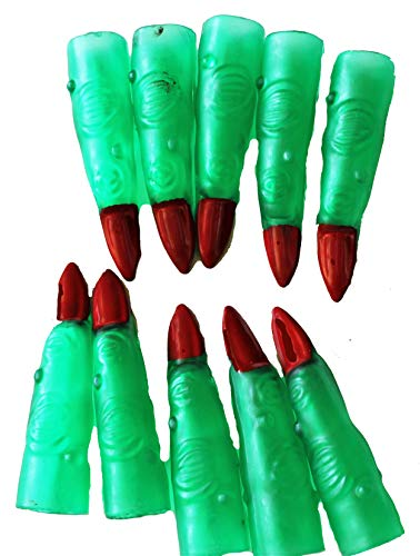 10 Green Witch/Martian Alien Finger Red Nail Claw Halloween Costume Accessory