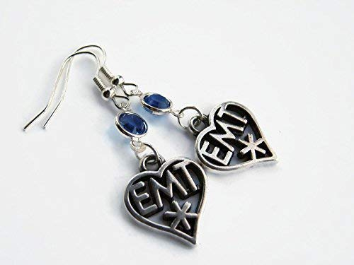 EMT Birthstone Heart Earrings, Personalized Paramedic Charm, Emergency Medical Technician Gift, Swarovski Birthstone Jewelry