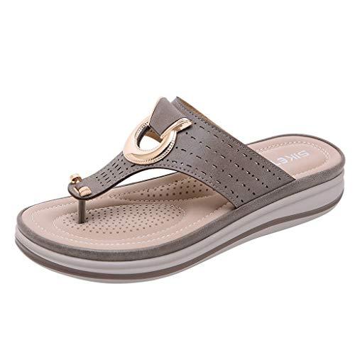 Metal Toe Wedge Slippers Ms. Bohemia Summer Fashion Comfort Beach Toe Sandals and Slippers MEEYA - Hearthside Slippers Womens