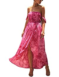 Women's Fashion Summer Dress Off Shoulder High Waist Tie Dye High Front Split Elastic Maxi Dress