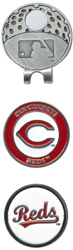 Team Golf MLB Cincinnati Reds Golf Cap Clip with 2 Removable Double-Sided Enamel Magnetic Ball Markers, Attaches Easily to Hats