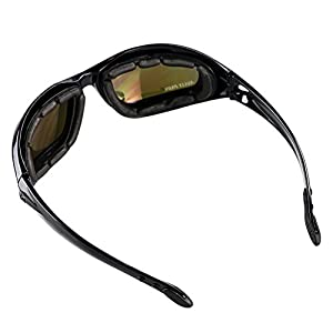 AULLY PARK Polarized Motorcycle Glasses Black Frame with 4 Lens Kit for Outdoor Activity Sport