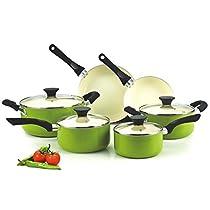 Cook N Home Green Nonstick Ceramic 10-piece Cookware Set