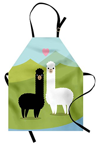 Ambesonne Llama Apron, Alpacas in Love in The Mountains Argentina Fauna Animals with Contrasting Colors, Unisex Kitchen Bib with Adjustable Neck for Cooking Gardening, Adult Size, Green Blue