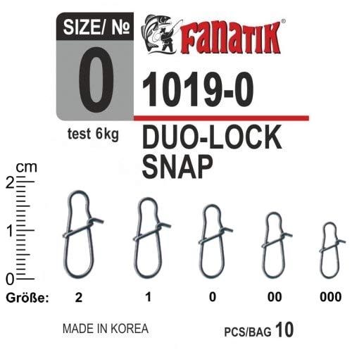 FANATIK Duo-Lock Snap 1019 Size 000, 00, 0, 1, 2 Fast Fishing Connector (Black, 12mm / 2kg - #000-10pcs)