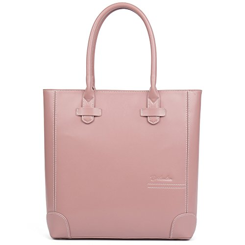 Pink Leather Tote Bag (Clearance BOSTANTEN Leather Handbags Tote Purses Top-handle Bags for Women Pink)