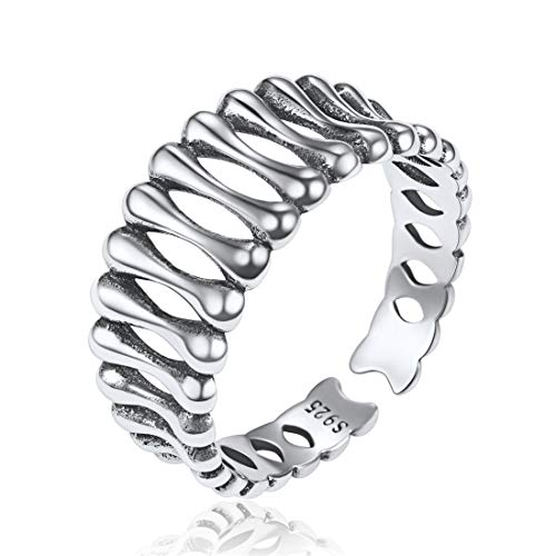 - ChicSilver Vintage Oxidized Rings for Women Men 925 Sterling Silver Dog Bone Stackable Knuckle Finger Band 8.7mm