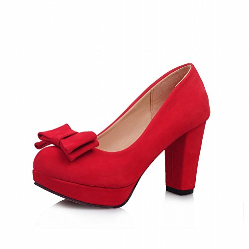 Show Shine Women's Fashion High-heel Nubuck Bows Upper Court Shoes Red InEGhV