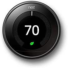 Nest Smart Learning Wi-Fi Programmable Thermostat, 3rd Gen, Mirror Black (T3018US)