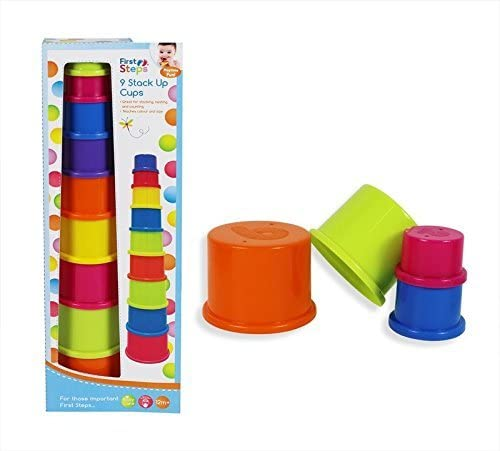 Colourful Teach Learn Baby Stack Up Cups 9 Cups Toy Develop Bath Play Time 12m
