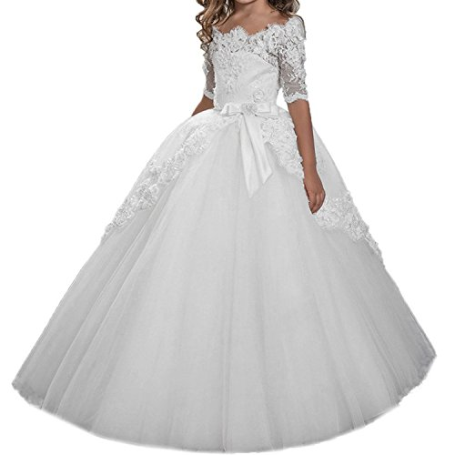 Oudy Half-Sleeve Lace 2017 Holy First Communion Dresses for Girls 10 US (First Communion Dresses 2017)