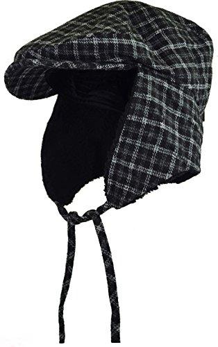 (Deewang Fashion Men's Herringbone Tweed Solid Newsboy Driving Cabbie, Ivy Flat Cap (L/XL, Black Plaid-Earflap))