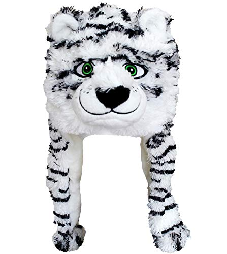 ZooPurr Pets Unisex Plush Animal Hats with Poms, Fun and Flurry Novelty Beanie Caps with Embroidered Eyes | Warm, Soft, and Cozy (Tiger) ()