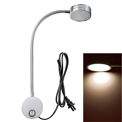 Wall Mounted Reading Light Lamp Flexible Gooseneck Task Light Headboard Reading Light for Bedside Reading Workbench Studio 5 Watts
