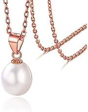 سيلفرا 9 ملم قلادة لؤلؤ مستزرعة من الفضة الاسترليني 20 انش، سلسلة الرقبة رولو، مجوهرات للنساء
