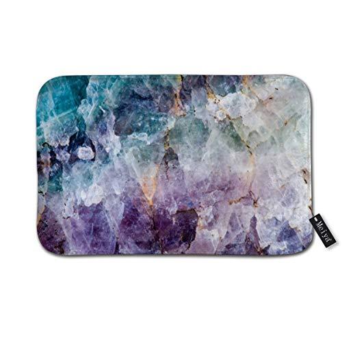 (Turquoise Purple Quartz Crystal Doormat Floor Mat with Non-Slip Backing Bath Mat Rug Funny Home Decor 23.6