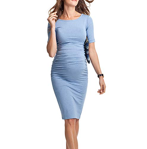 4374aa9d5a2 Fashionme Women s Bodycon Dress Short Sleeve Ruched Sides Knee Length Maternity  Dress