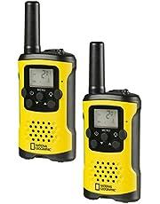 National Geographic PMR-walkie Talkie radio met maximaal 6 km bereik, LCD-display, zaklamp, VOX-functie, 8 kanalen, 10 beltonen, hoofdtelefoonaansluiting, licentievrij