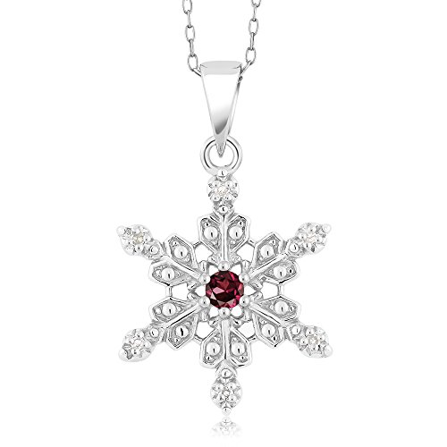 Rhodolite Family Pendant (925 Sterling Silver Diamond Accent Snowflake Pendant Red Rhodolite Garnet (0.14 cttw, with 18 Inch Chain))