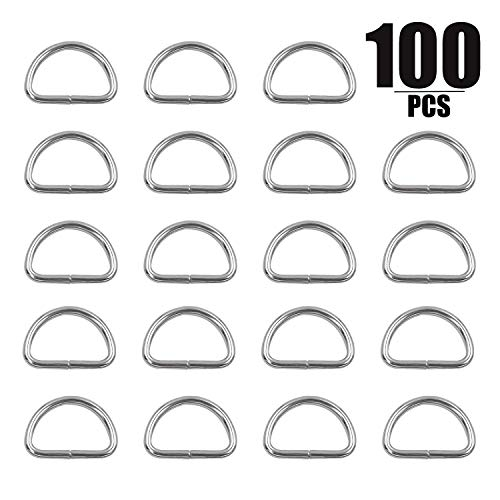 Metal D Rings, KINJOEK 100 PCS 1/2 Inch D Shape Ring, Extra Thick 2mm Non-Welded D Ring for Sewing, Dog Collars, Harness, Crafts, DIY Accessories