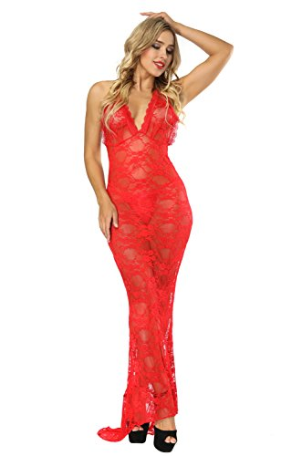 Lingerie Gown - Sexy Lingerie for Women for Sex Long Chemise Long Gown Lace Long Dress Mermaid Evening Dress, Red