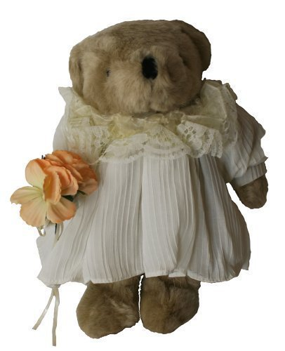 Beautiful Flower Girl, Plush Teddy Bear 12 Inches Stuffed Animal, with Orange Flower Bouquet