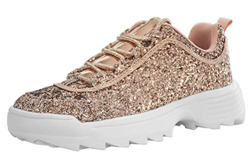 LUCKY-STEP Sneakers for Women Glitter Non-Slip Outdoor Running Shoes - Footwear Choice (7 B(M) US, Rose Gold)