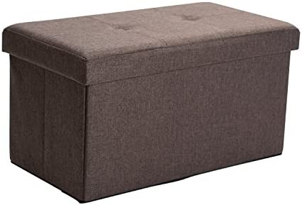 Simplify Faux Linen Double Folding Storage Ottoman in Espresso