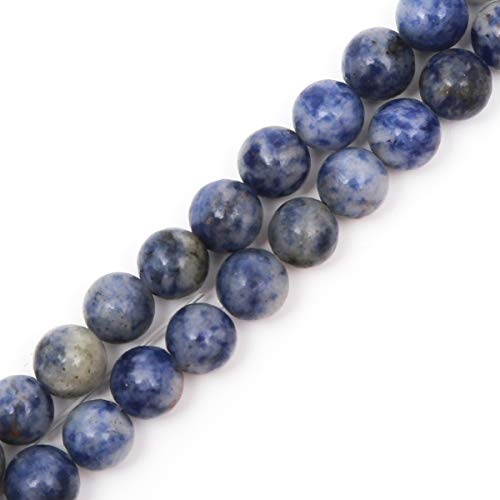 "Genuine Natural Stone Beads Blue Sodalite Round Loose Gemstone 8mm 1 Strand 15.5""45-47pcs DIY Charm Smooth Beads for Bracelet Necklace Earrings Jewelry Making Accessories Supplier ST9"