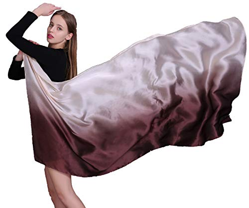 - 100% Silk Scarf for Women Long Large Lightweight Sunscreen Scarves Gradient Colors Shawl
