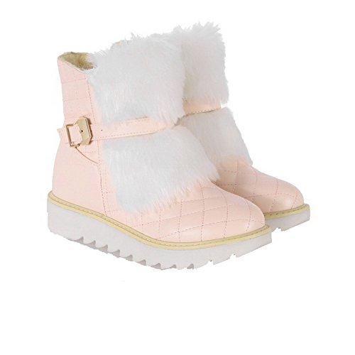AgooLar Damen PU Rund Zehe Mittler Absatz Ziehen auf Rein Stiefel Pink