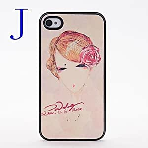 AES - Fashion Beauty Girl Pattern Pasting Skin Plastic Case for iPhone 4/4S , O