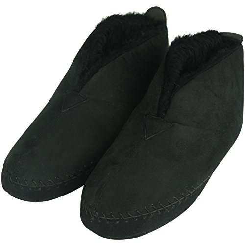 Plush Booties (Forfoot Unisex Women's Men's Adult's Winter Warm Plush Comfortable Anti Slip Floor House Slippers Bedroom Boots Black XX-large)