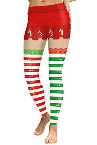 COCOLEGGINGS Ladies Striped Patterned Christmas Leggings Ankle Length Red S]()