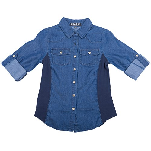 [35505-DarkBlue-14/16] Girl's Denim Shirt: Button Down, 3/4 Sleeve Casual Top