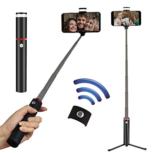 CharaVector Selfie Stick Fill Light Bluetooth 4.0 One-Piece Tripod for iPhone X/8/8P/7/7P/6s/6P, Galaxy S9/S9 Plus/S8/S7/ S6/S5/Note 8, Google, Huawei and More