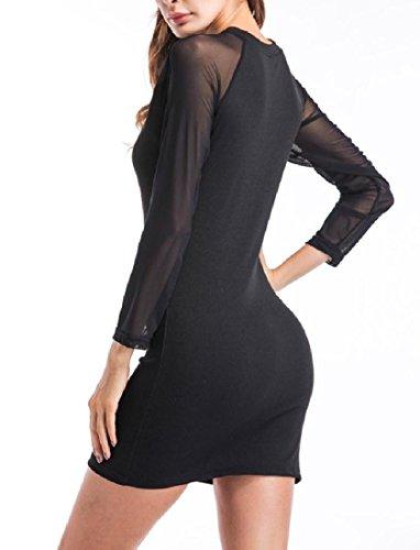 Crew Mesh Black Dresses Short Long Comfy Sleeve through See Neck Women Mini O1wWqfgBR