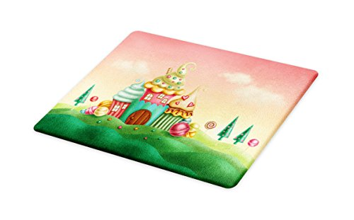 Lunarable Teen Girls Cutting Board, Fantasy Houses from Cupc