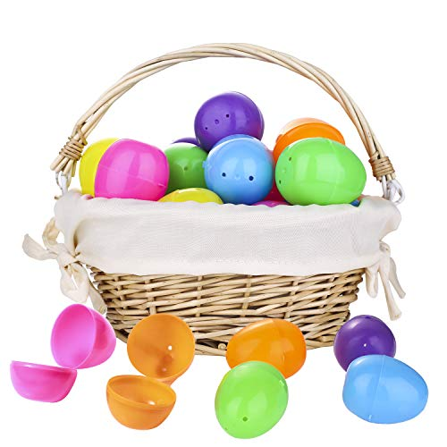 Plastic Easter Eggs and Easter Basket - Tutuko 42 Pcs Assorted 6 Colors Easter Eggs for Kids, Easter Gifts, Easter Theme Party Favor, Easter Decoration, Easter Eggs Hunt, Classroom Prizes, 1 Pack Handmade Rattan Basket Included]()