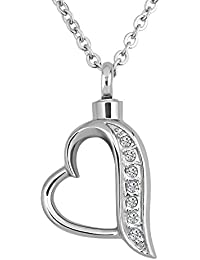 Crystal Forever Loved Heart Urn Necklaces for Human Memorial Cremation Ashes Holder Keepsake Stainless Steel Jewelry Pendant