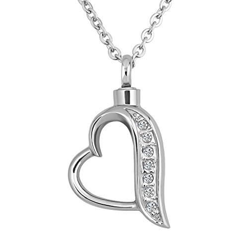 Infinite Memories Love Heart with Crystal Urn Necklace for Cremation Ashes Memorial Keepsake Women Mom Grandma