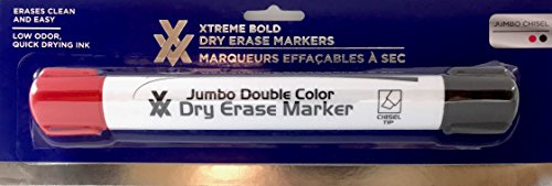 ouble Color Dry Erase Marker Red and Black with Jumbo Chisel Tips (Double Color Dry Erase Markers)