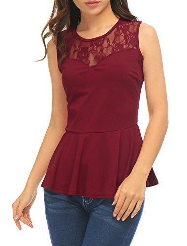 Allegra K Women Round Neck Lace-Paneled Sleeveless Peplum Top S Red