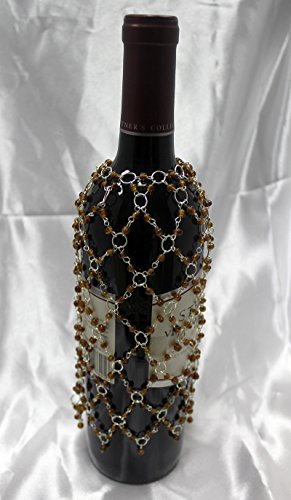 Beaded Decorative Wine or Champagne Bottle Covers Set of 2 Brown